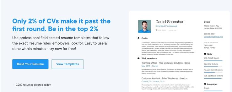homepage of resume creator resume.io