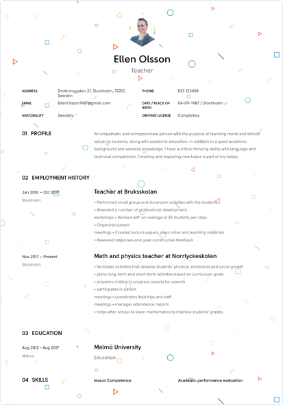 example of creating looking resume