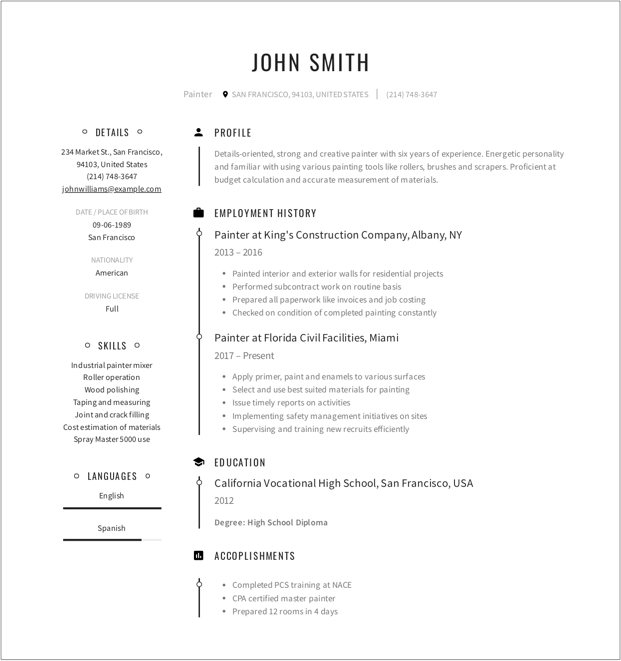 modern cv template for painter